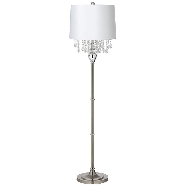 Crystals White Shade Brushed Nickel Floor Lamp