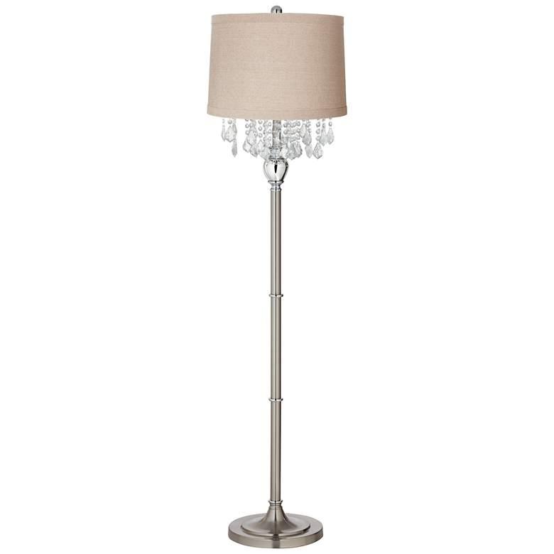 Crystals Linen Drum Shade Brushed Nickel Floor Lamp