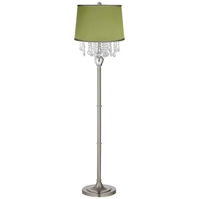 Crystals Olive Green Satin Shade Brushed Nickel Floor Lamp
