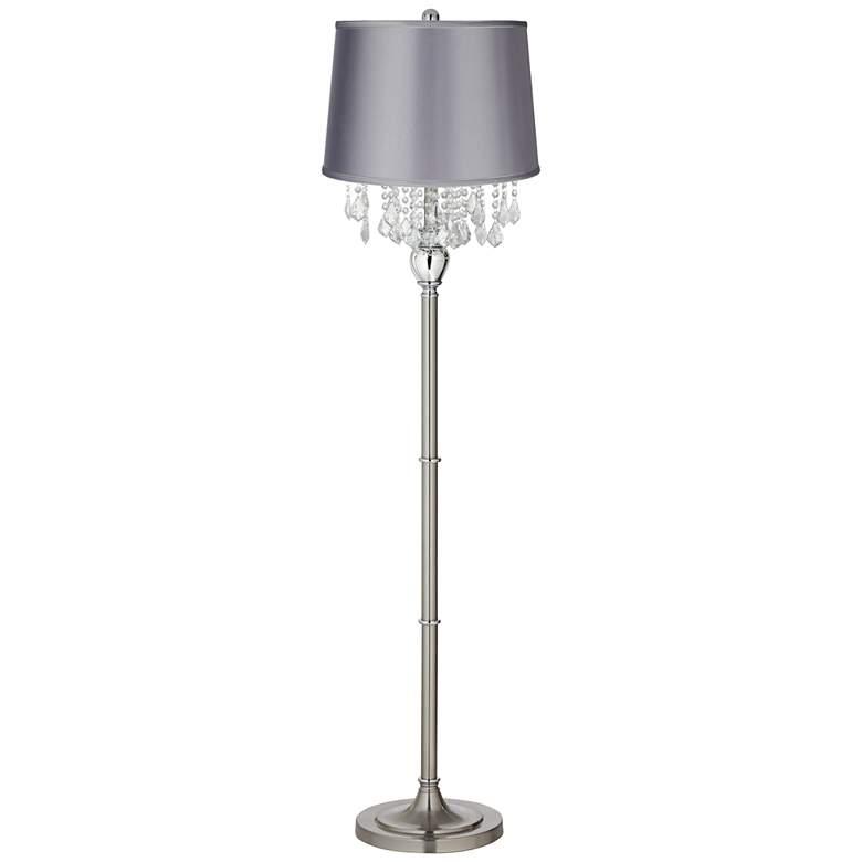 Crystals Light Gray Satin Shade Brushed Nickel Floor Lamp