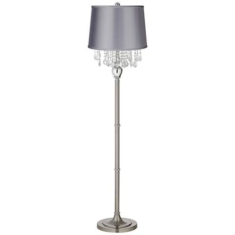 Crystals Light Gray Satin Shade Satin Steel Floor Lamp