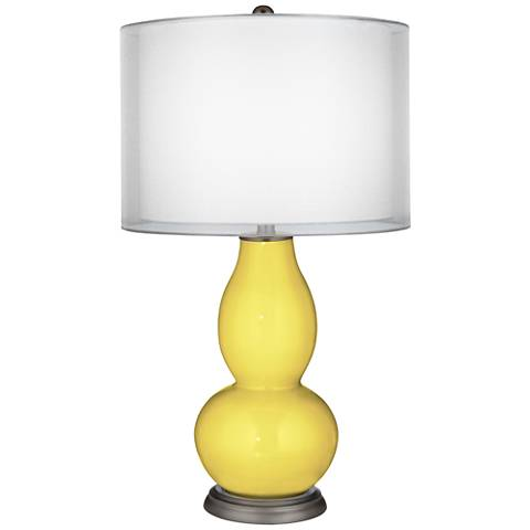 Lemon Twist Sheer Double Shade Double Gourd Table Lamp