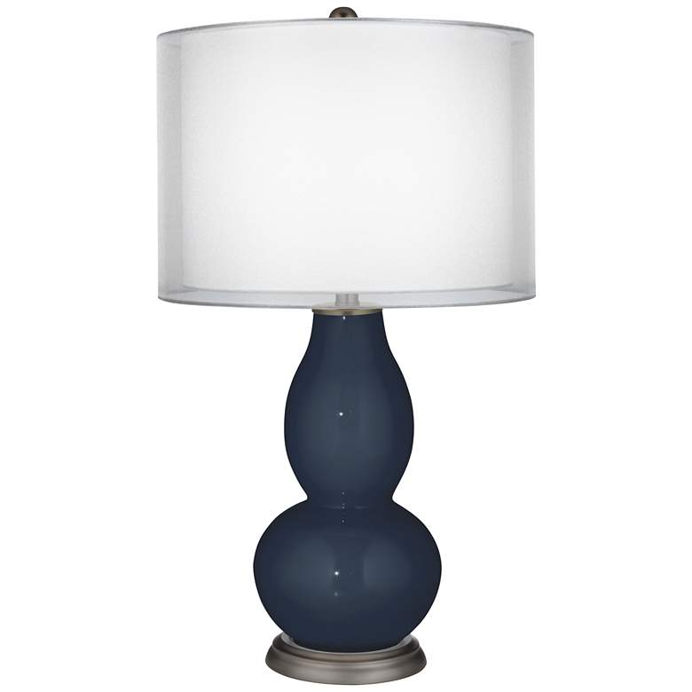 Naval Double Sheer Silver Shade Double Gourd Table Lamp