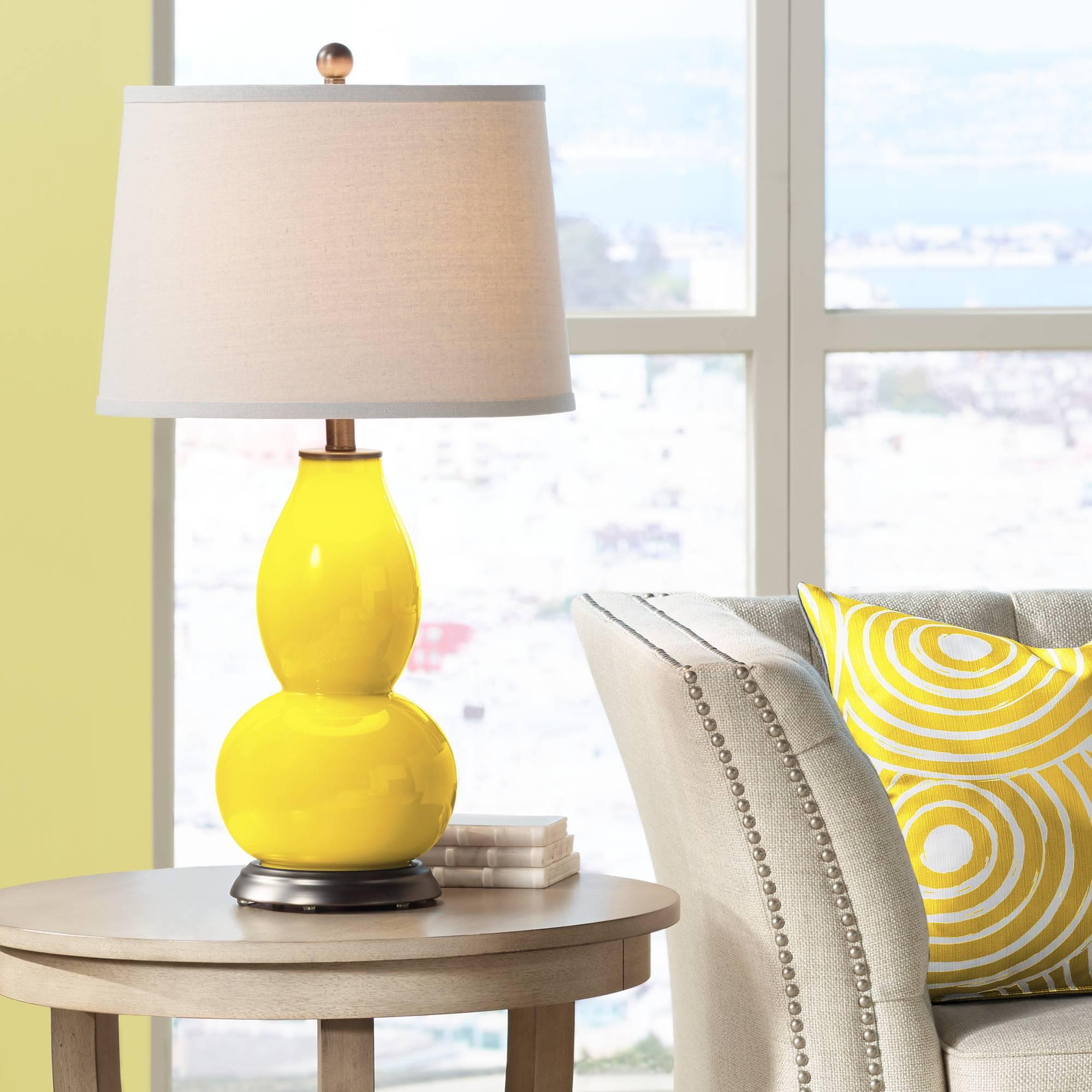 Modern Table Lamp Citrus Yellow Glass Gourd for Living Room Bedroom ...