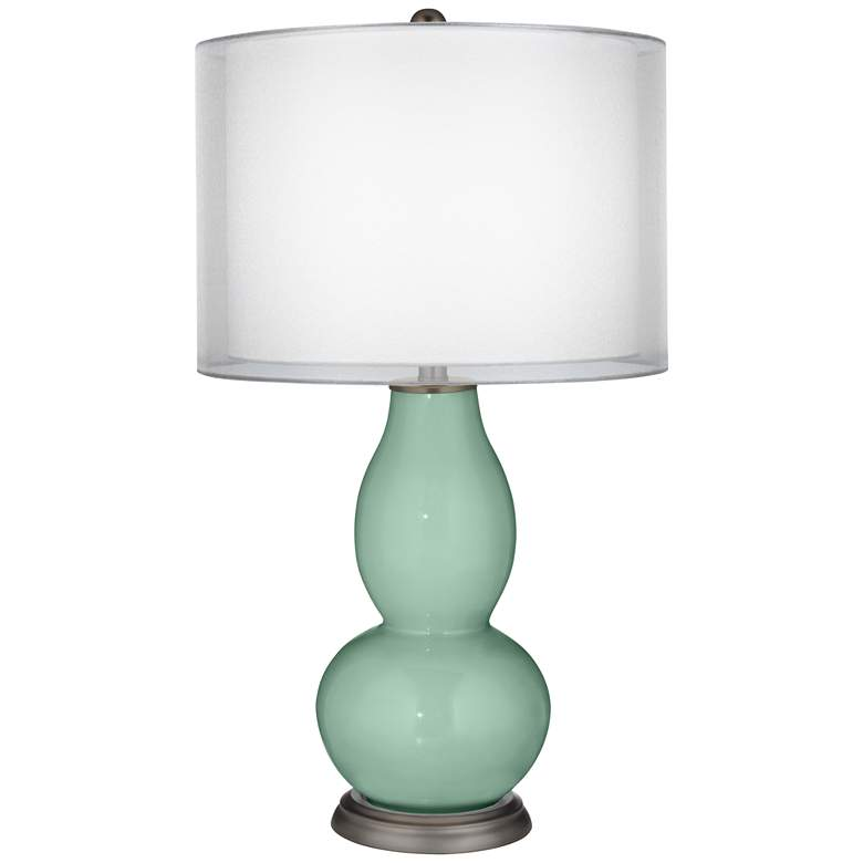 Grayed Jade Sheer Double Shade Double Gourd Table Lamp