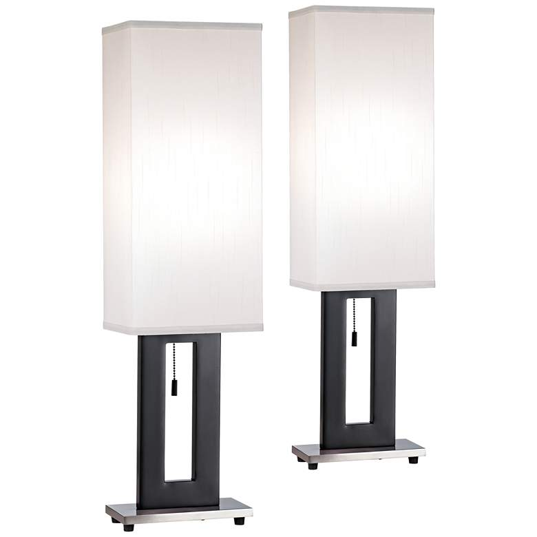 Floating Rectangle Brushed Nickel Modern Table Lamp Set of 2