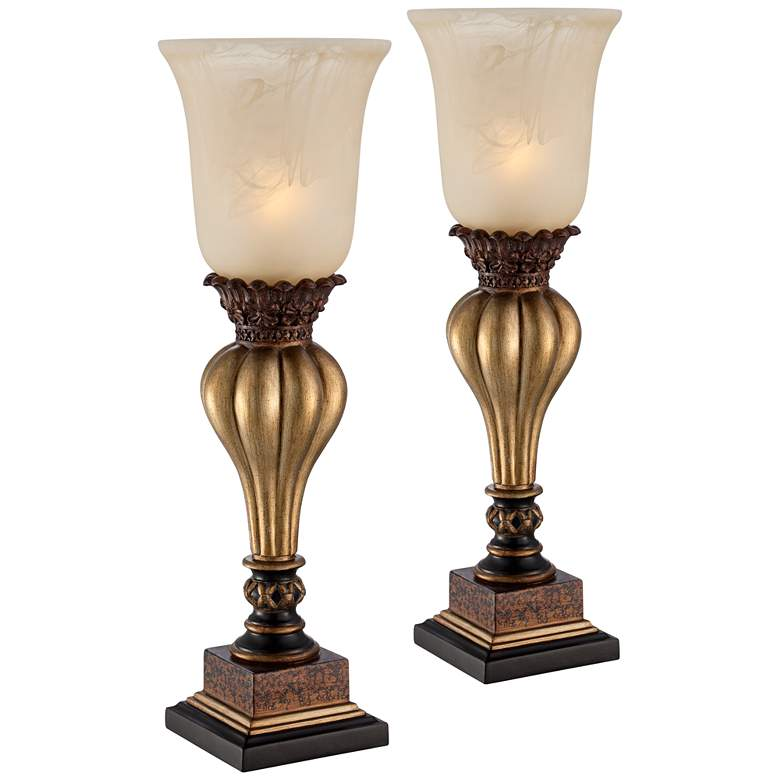 Sattley Alabaster Glass Gold Console Lamp Set of 2