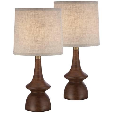 Rexford Mid-Century Walnut Table Lamp Set of 2