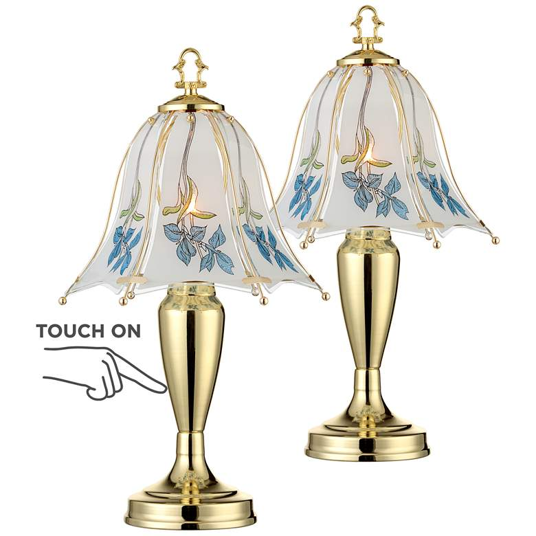 """Blue Flower Shade 18"""" High Touch On-Off Table Lamps Set of 2"""