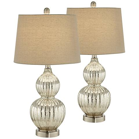Lili Fluted Mercury Glass Table Lamp Set of 2 with 17W LED Bulb