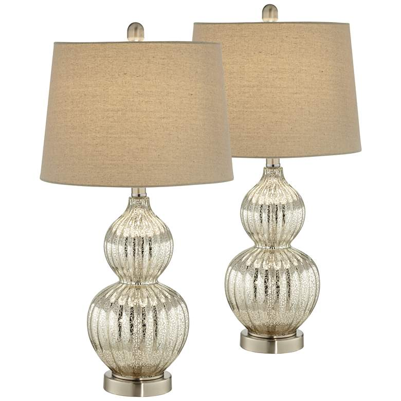 Lili Fluted Mercury Glass Table Lamp Set of