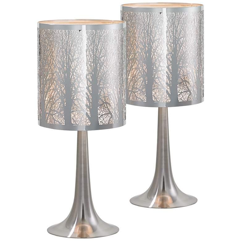 "Possini Euro 19"" High Laser-Cut Chrome Table Lamps Set of 2"
