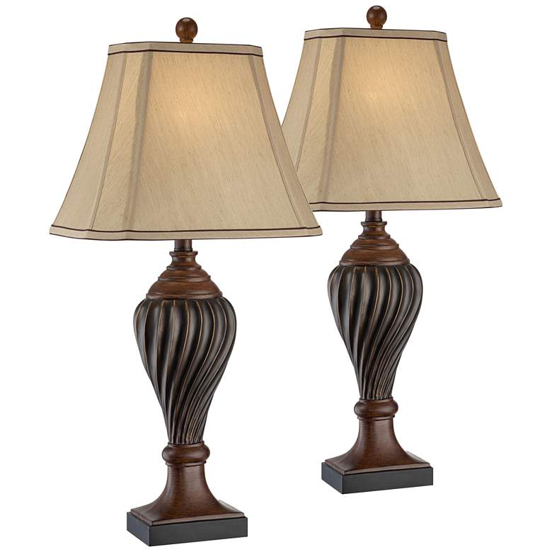 Carved Two-Tone Brown Table Lamp Set of 2