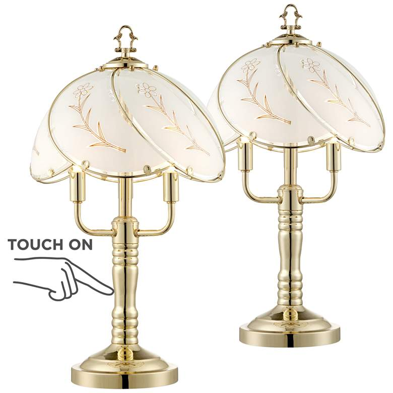 Flower 3-Light Touch On-Off Accent Table Lamps Set