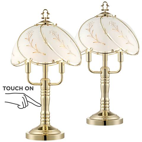 Flower 3-Light Touch On-Off Accent Table Lamp Set of 2
