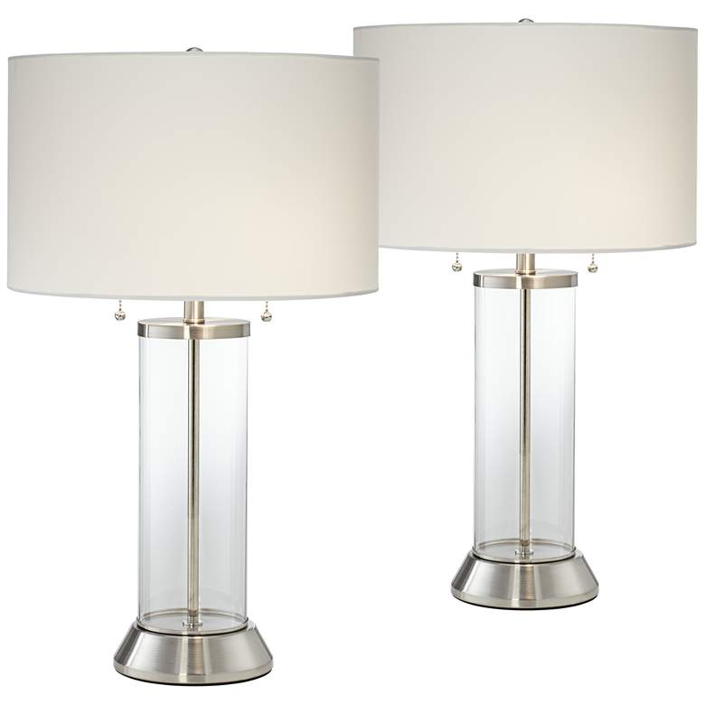 Fritz Glass Column USB Table Lamp Set of 2