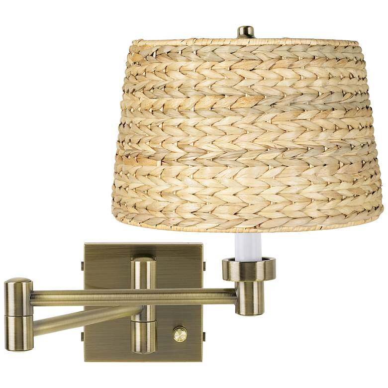 Woven Seagrass Antique Brass Plug-In Swing Arm Wall Lamp