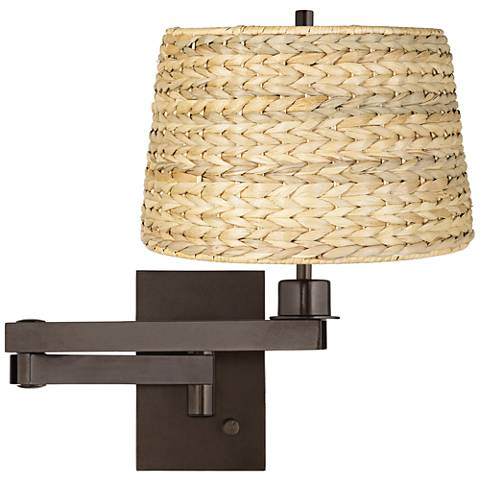 Woven Seagrass Bronze Plug-in Swing Arm Wall Lamp