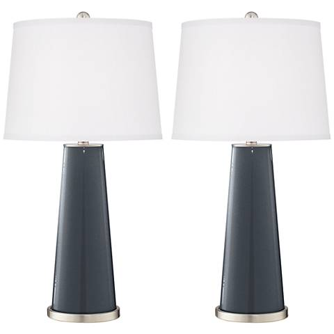 Gunmetal Metallic Leo Table Lamp Set of 2