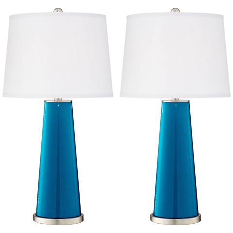 Turquoise Metallic Leo Table Lamp Set of 2