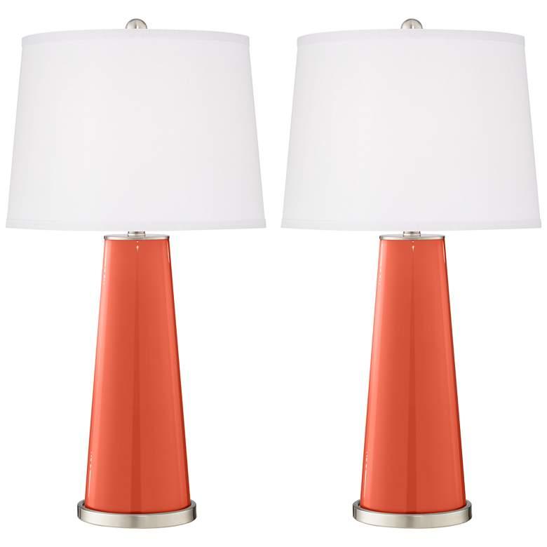 Daring Orange Leo Table Lamp Set of 2