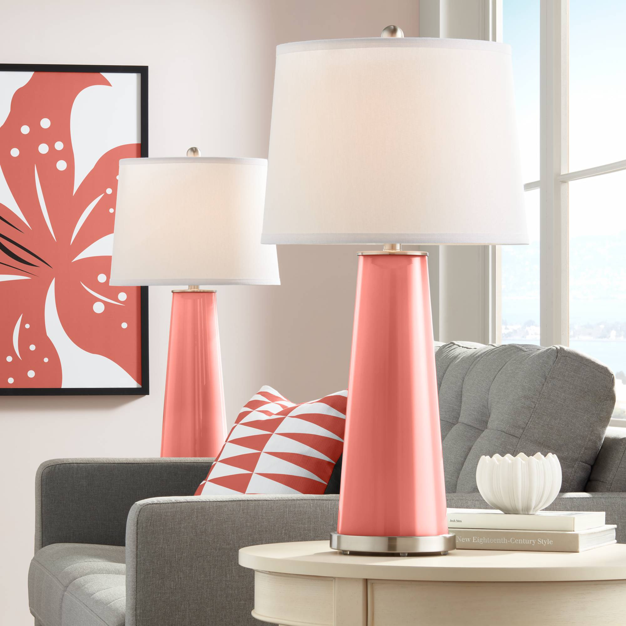 Modern Table Lamps Set of 2 Coral Reef Glass Column for Living Room ...