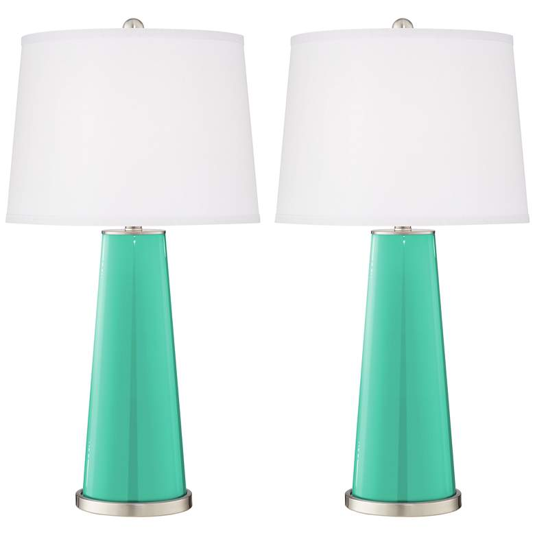 Leo Turquoise Modern Table Lamp by Color Plus - Set of 2