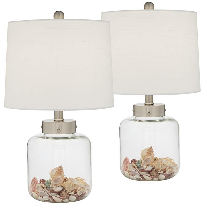 Glass Canister Small Fillable Accent Lamps Set of 2