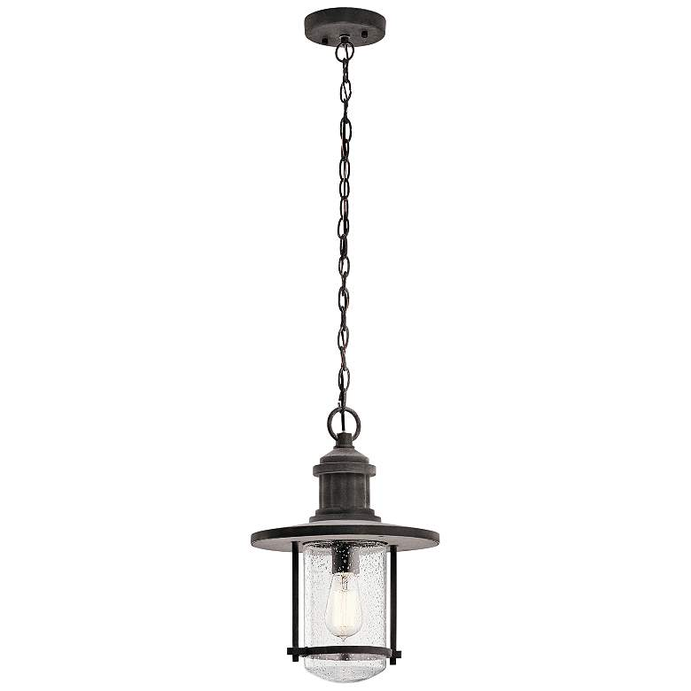 "Kichler Riverwood 16 1/4""H Weathered Outdoor Hanging Light"