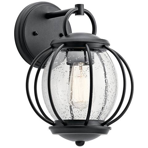 "Kichler Vandalia 12"" High Textured Black Outdoor Wall Light"