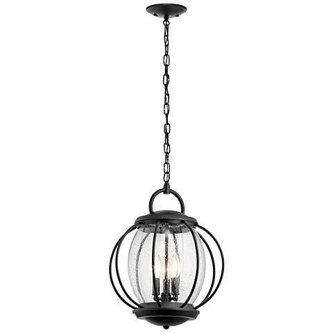 "Kichler Vandalia 19""H Textured Black Outdoor Hanging Light"