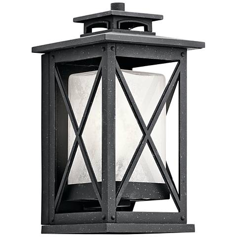 "Kichler Piedmont 12""H Distressed Black Outdoor Wall Light"