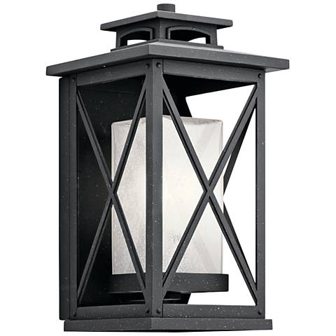 "Kichler Piedmont 15""H Distressed Black Outdoor Wall Light"