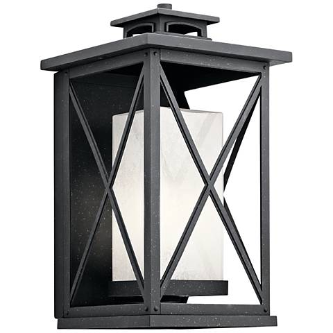 "Kichler Piedmont 18""H Distressed Black Outdoor Wall Light"