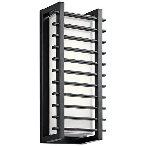 "Kichler Rockbridge 16 1/4"" High Black LED Outdoor Wall Light"