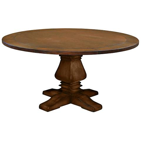 Toscana Small Round Cognac Wood Dining Table