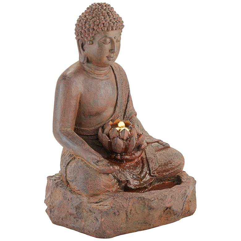 "Buddha 24"" High Rust Cast Bronze Indoor/Outdoor LED Fountain"