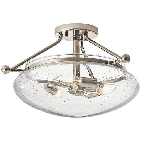 """Kichler Belle 17"""" Wide Polished Nickel 3-Light Ceiling Light"""