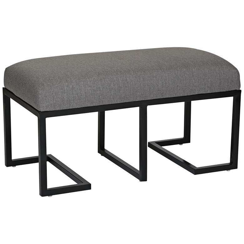 Ashley Dark Gray Linen and Black Metal Bench