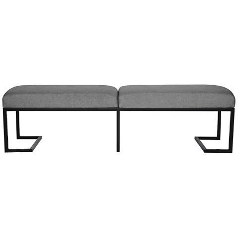 Ashley King Sand Gray Linen and Black Metal 2-Seat Bench