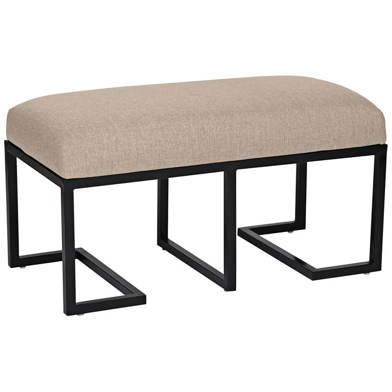 Ashley Sand Linen and Black Metal Bench