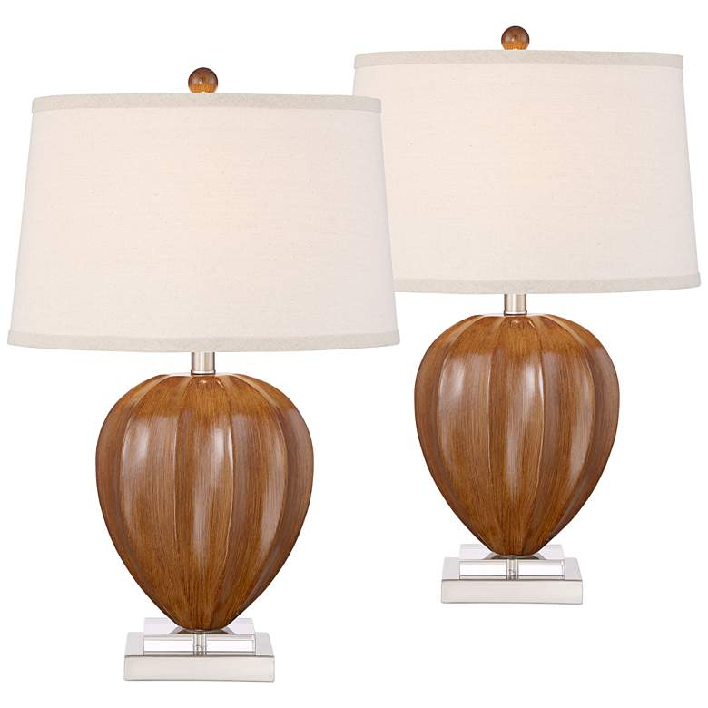 Bernice Wood Finish Table Lamp Set of 2