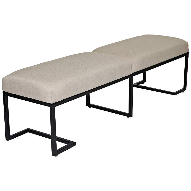 "Ashley 70"" Wide Sand Linen 2-Seat Modern Bench"