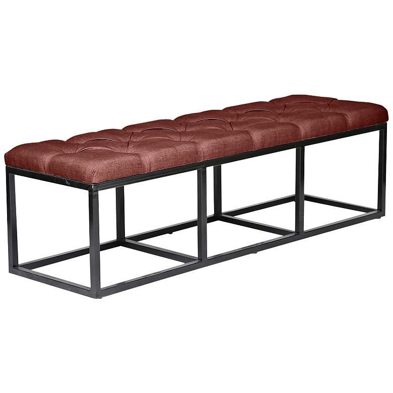 Beford Burgundy Red Linen Tufted Bench
