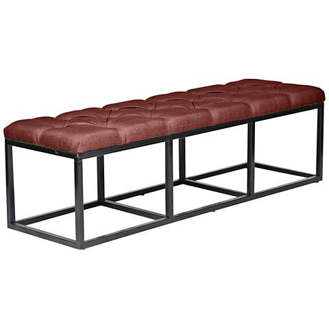 Beford Burgundy Red Linen Tufted Bench