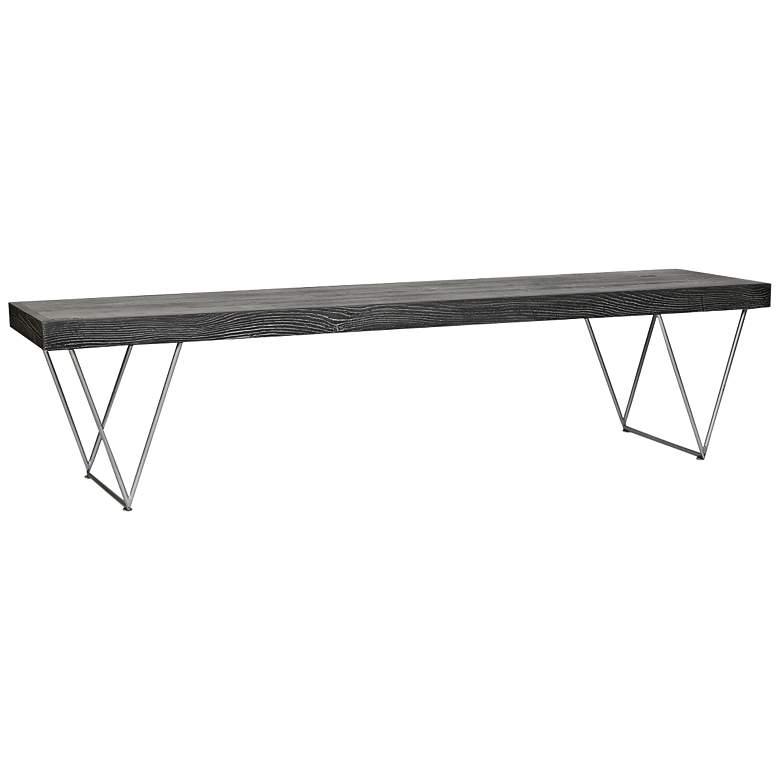 "Kameron 72"" Wide Gray Wood Modern Bench"