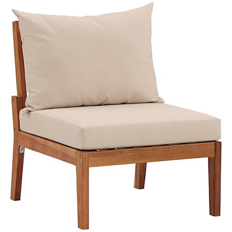 Milos Natural Wood Outdoor Armless Lounge Chair 17x33