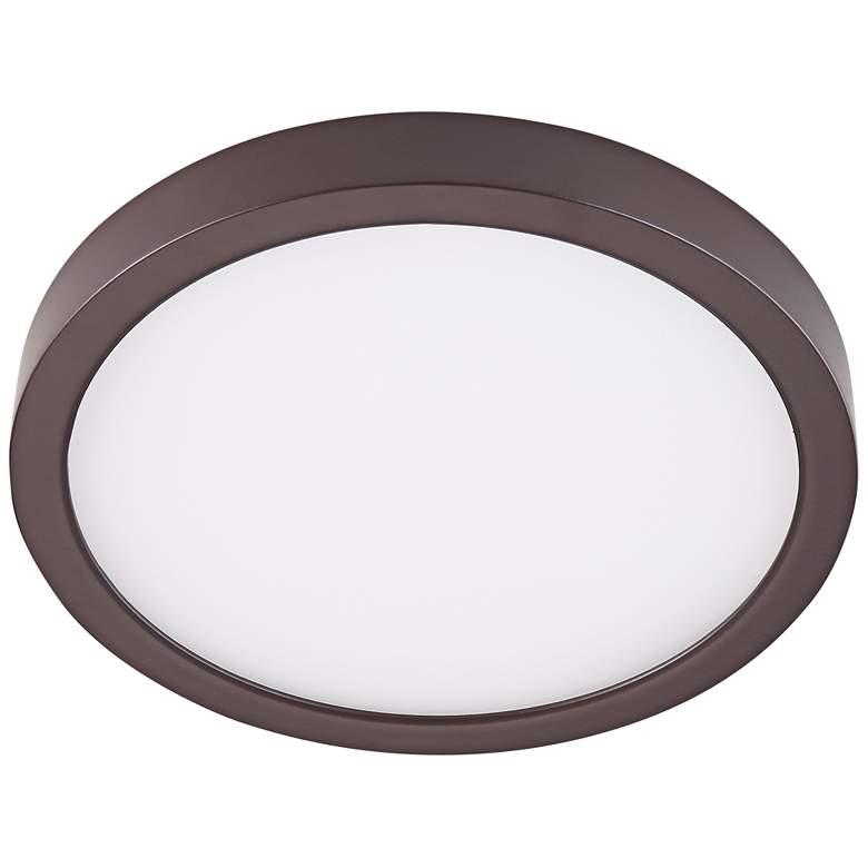"Disk 8"" Wide Bronze Round LED Indoor-Outdoor Ceiling Light"
