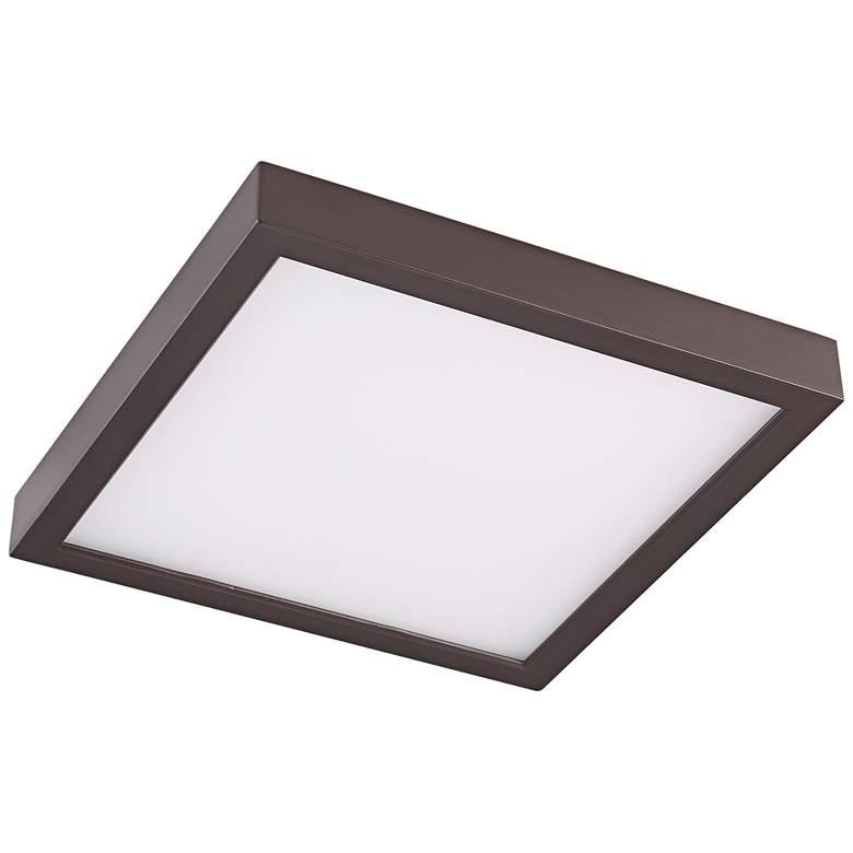 "Disk 8"" Wide Bronze Square LED Indoor-Outdoor Ceiling Light"