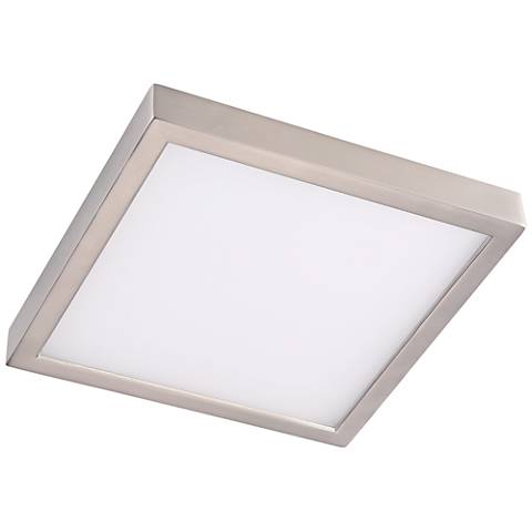 """Disk 11"""" Wide Nickel Square LED Indoor-Outdoor Ceiling Light"""